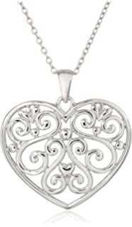 Amazon sterling silver filigree heart pendant necklace 18 sterling silver filigree heart pendant necklace 18 aloadofball Choice Image