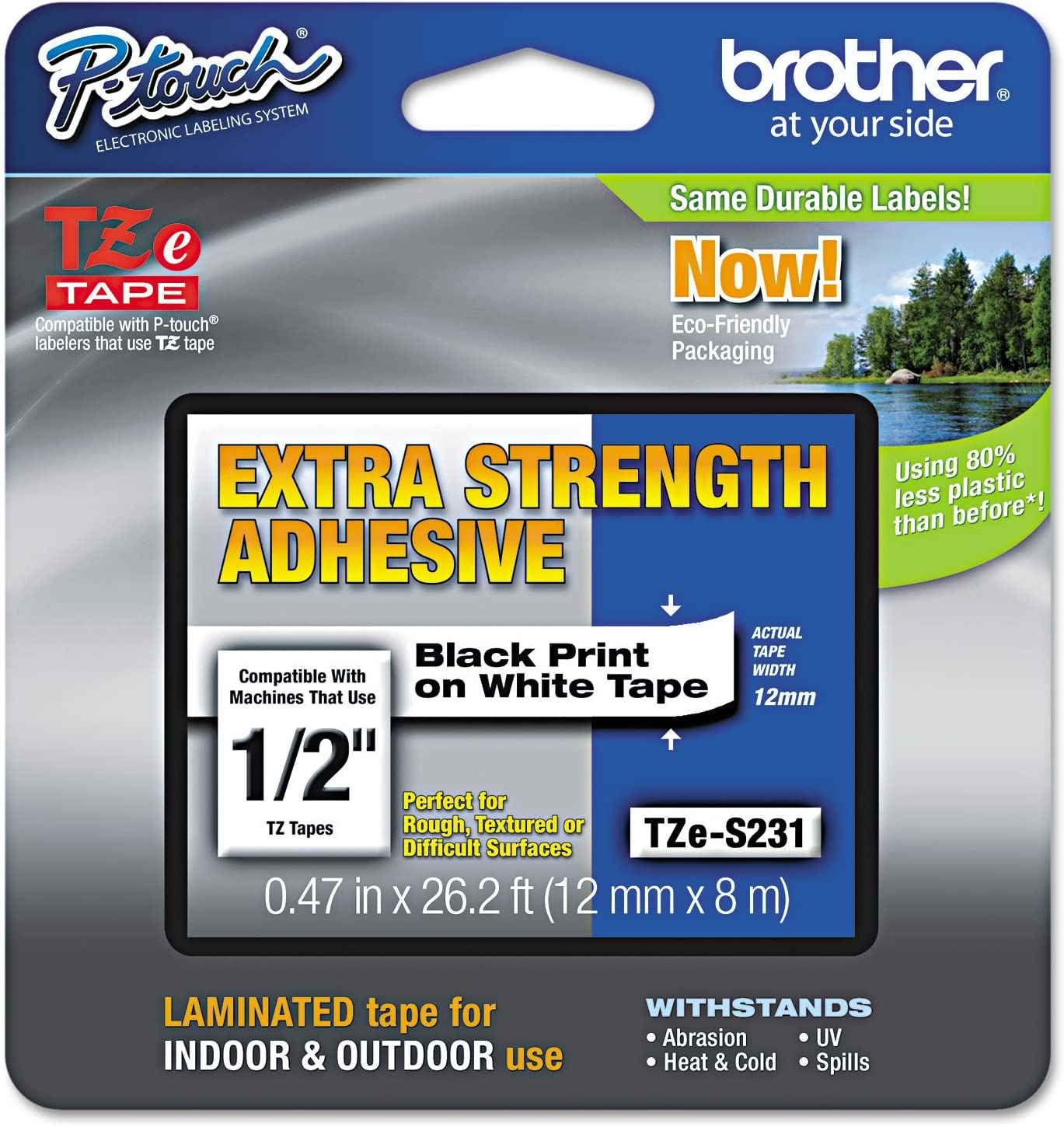 Brother Tzes231 Genuine P Touch Tape Strong Adhesive 12 Mm Black On White Amazon Ca Office Products
