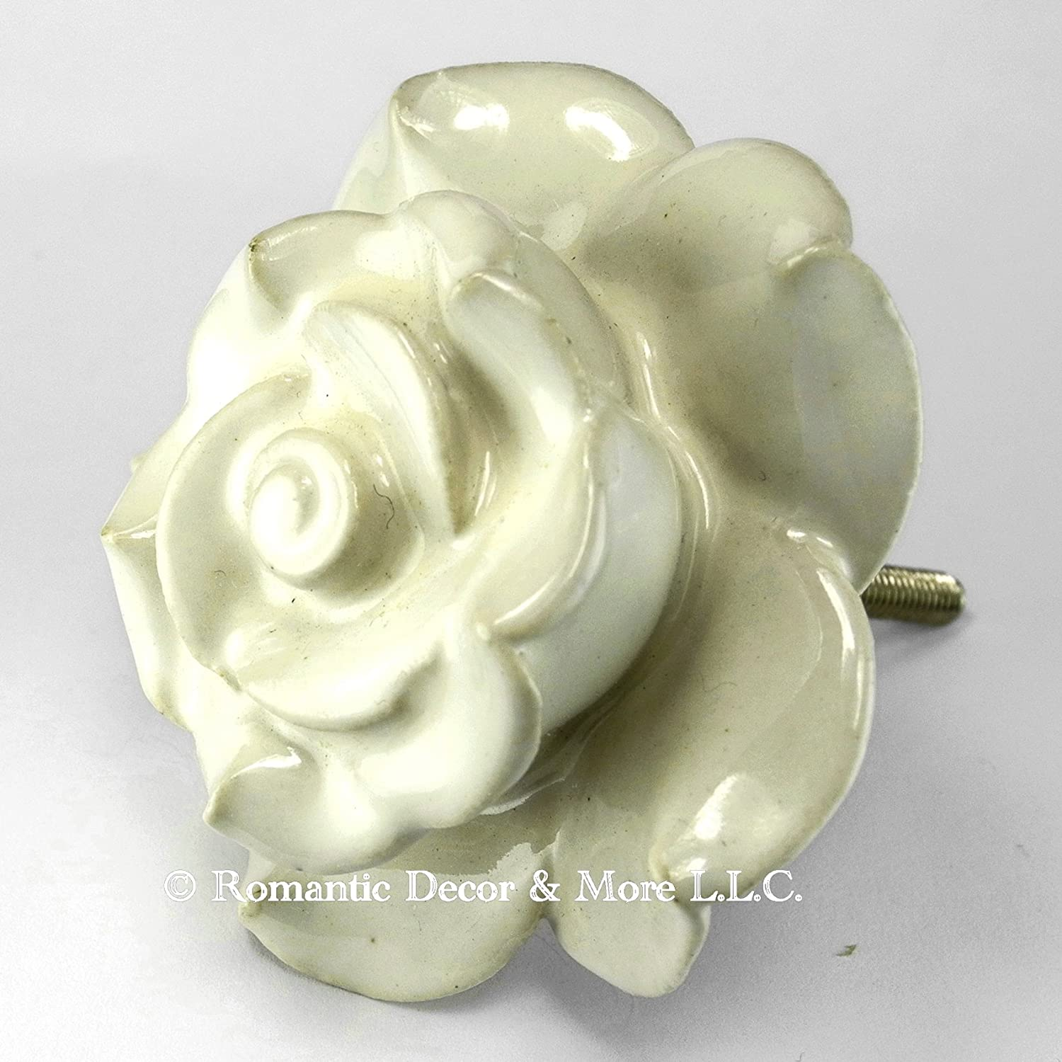 Amazon.com: White Rose Ceramic Knobs, Cupboard Drawer Pulls ...