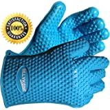 SillyKone ® Heat Proof Gloves - Extra Thick 100% Waterproof Resistant Silicone - 5 Finger BBQ Grill Glove Beats Smelly Pot Holder Cooking Mitts - Use In Baking, Grilling, Barbecue, Microwave Oven. Easy Clean & Dishwasher Safe.