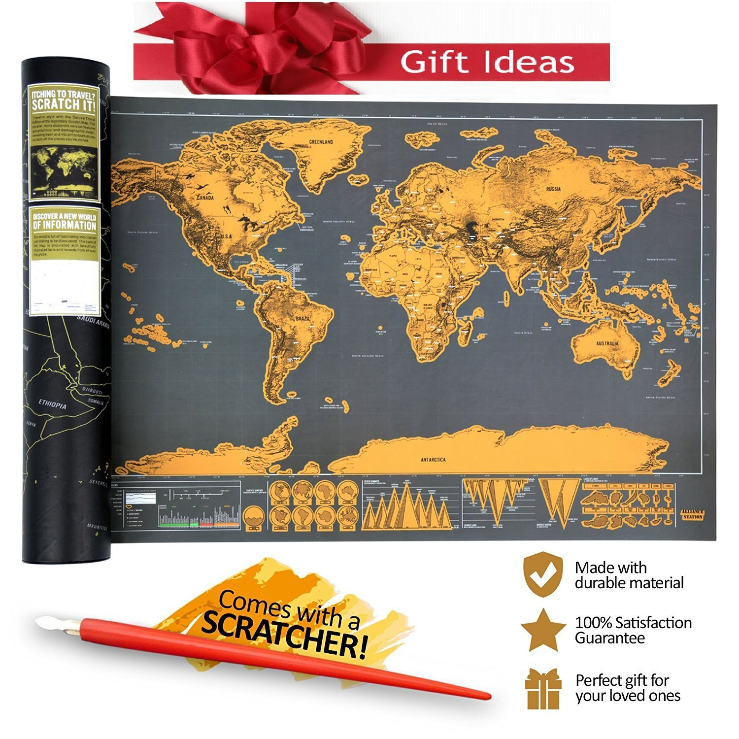 Scratch Off World Map Poster- Mini Black & Gold Brown Travel Tracker Deluxe Edition Traveler Gift Set B1210-1