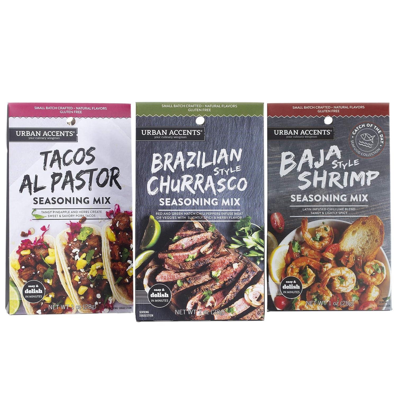 Urban Accents Gluten Free Main Dish Food Truck Seasoning Bundle – Latin Food Seasoning Set (Set of 3) – Baja Shrimp, Brazilian Churrasco & Tacos al Pastor Cooking Spices and Seasonings