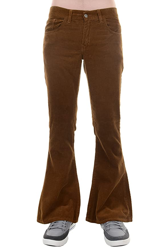 60s -70s  Men's Costumes : Hippie, Disco, Beatles Mens 70s Retro Vintage Bellbottom Corduroy Super Flares $47.95 AT vintagedancer.com