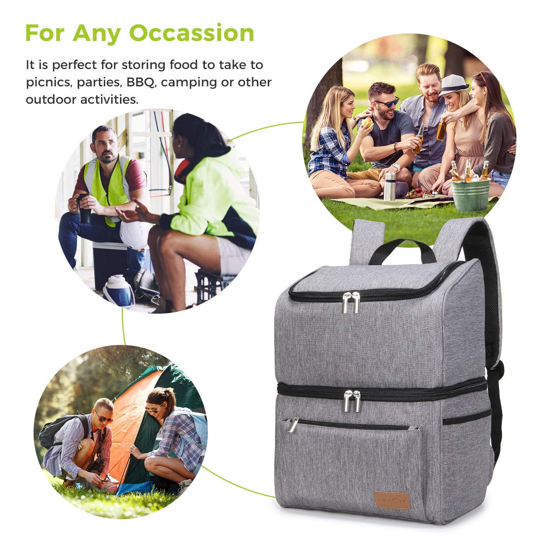 34 Canette Lifewit 18L Sac-Glaci/ère Isotherme Sac de Pique-Nique Gris de Double Compartiment Cooler Backpack Bag Portable pour D/éjeuner Plage Camping BBQ