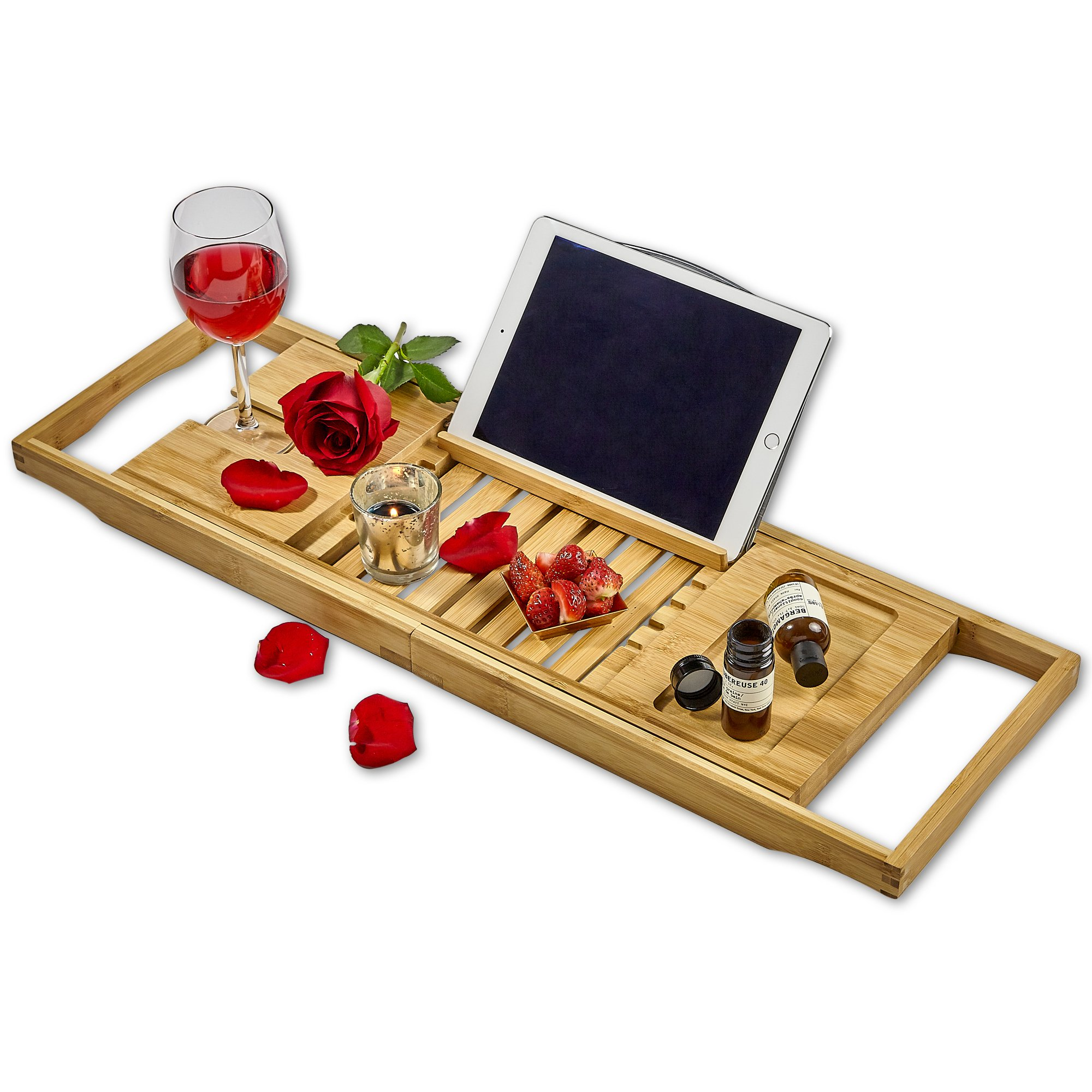 Tregini Luxury Bathtub Caddy - Extendable Bamboo Wood Bath Tray with Adjustable Book, iPad or Kindle Reading Rack - Wine Glass Holder - Cellphone or Tablet Slot by Tregini (Image #1)