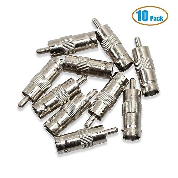sungpunet Pack de 10 BNC hembra Jack a RCA macho Plug Cable coaxial adaptadores