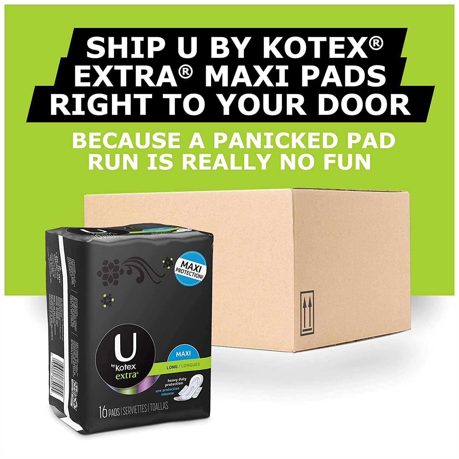 Amazon.com: U by Kotex Extra* Long Maxi Pads with Wings, Unscented-30 ct: Health & Personal Care