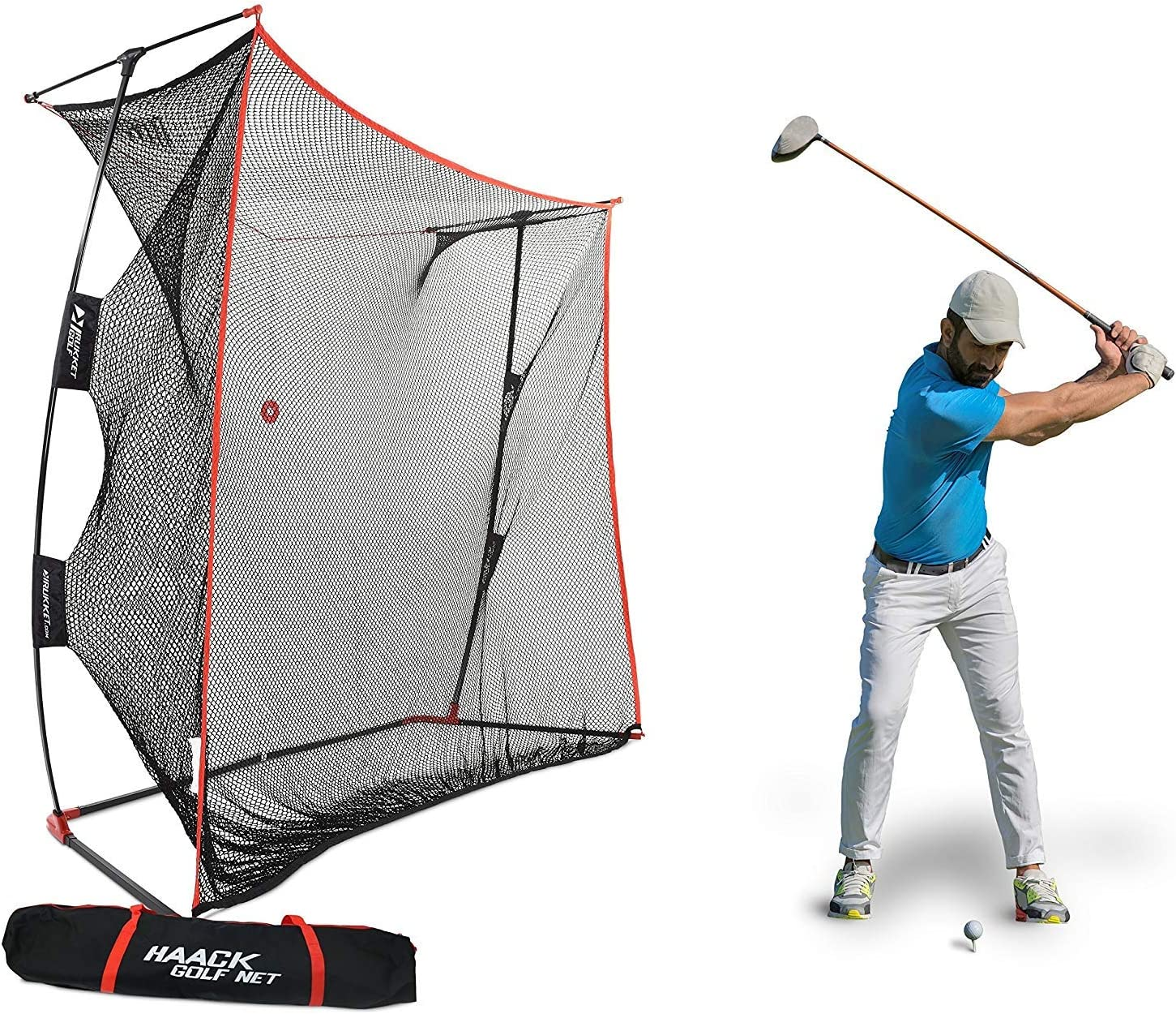 Rukket 9x7x3ft Haack Golf Net Pro Practice Driving Indoor and Outdoor Professional Golfing at Home Swing Training Aids by SEC Coach Chris Haack