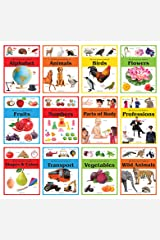 Early Learning Picture Books Boxset: Pack of 12 Picture Books for Kids (Wipe & Clean)- Alphabet, Animals, Numbers, Fruits, Birds, Shapes & Colors, ... Flowers, Professions & Part of Body Cards