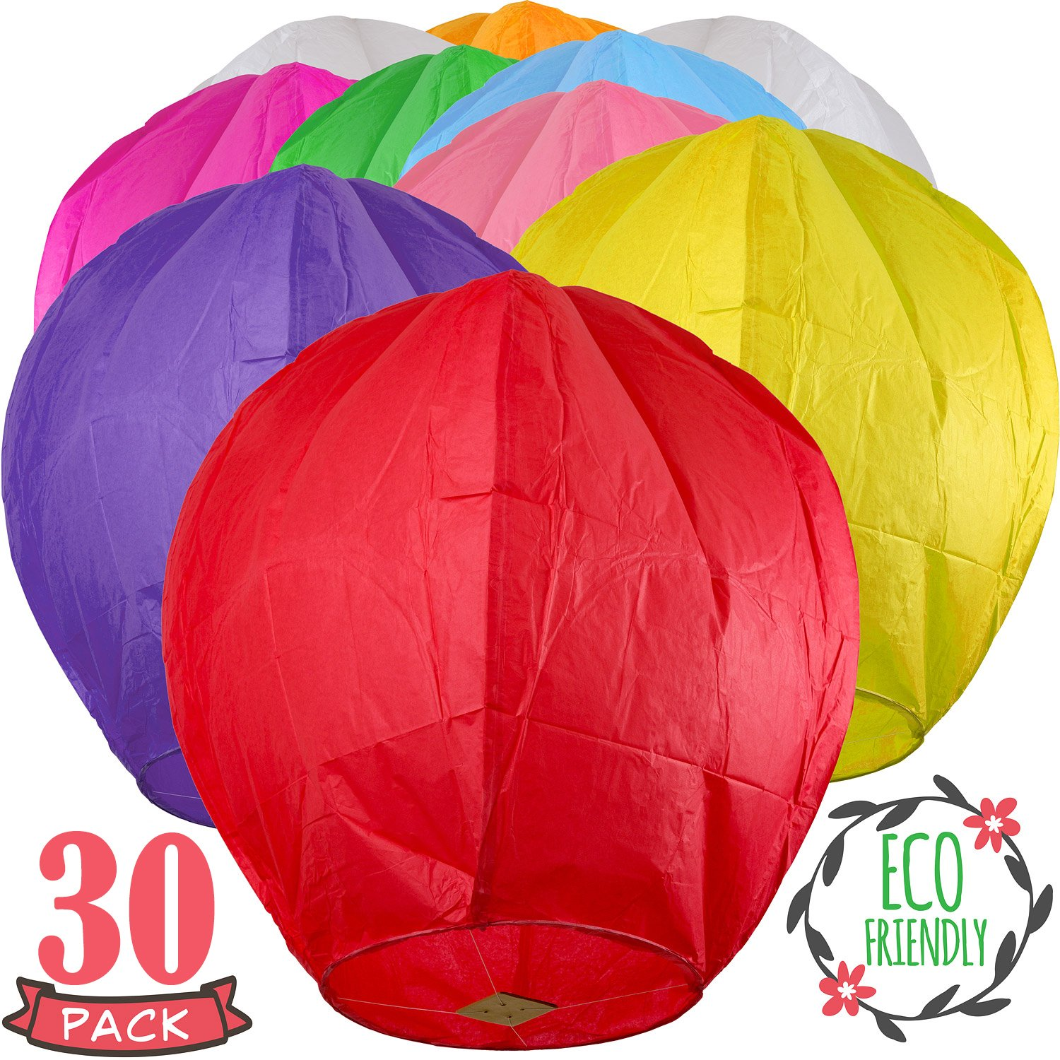 Chinese Lanterns 30-Pack Multi-Color, Fully Assembled and Fuel Cell Attached is 100% Biodegradable, New Designed Sky Lantern with Gift Box Coral Entertainments for Any Occasion. (Multi-Color) by SKY HIGH