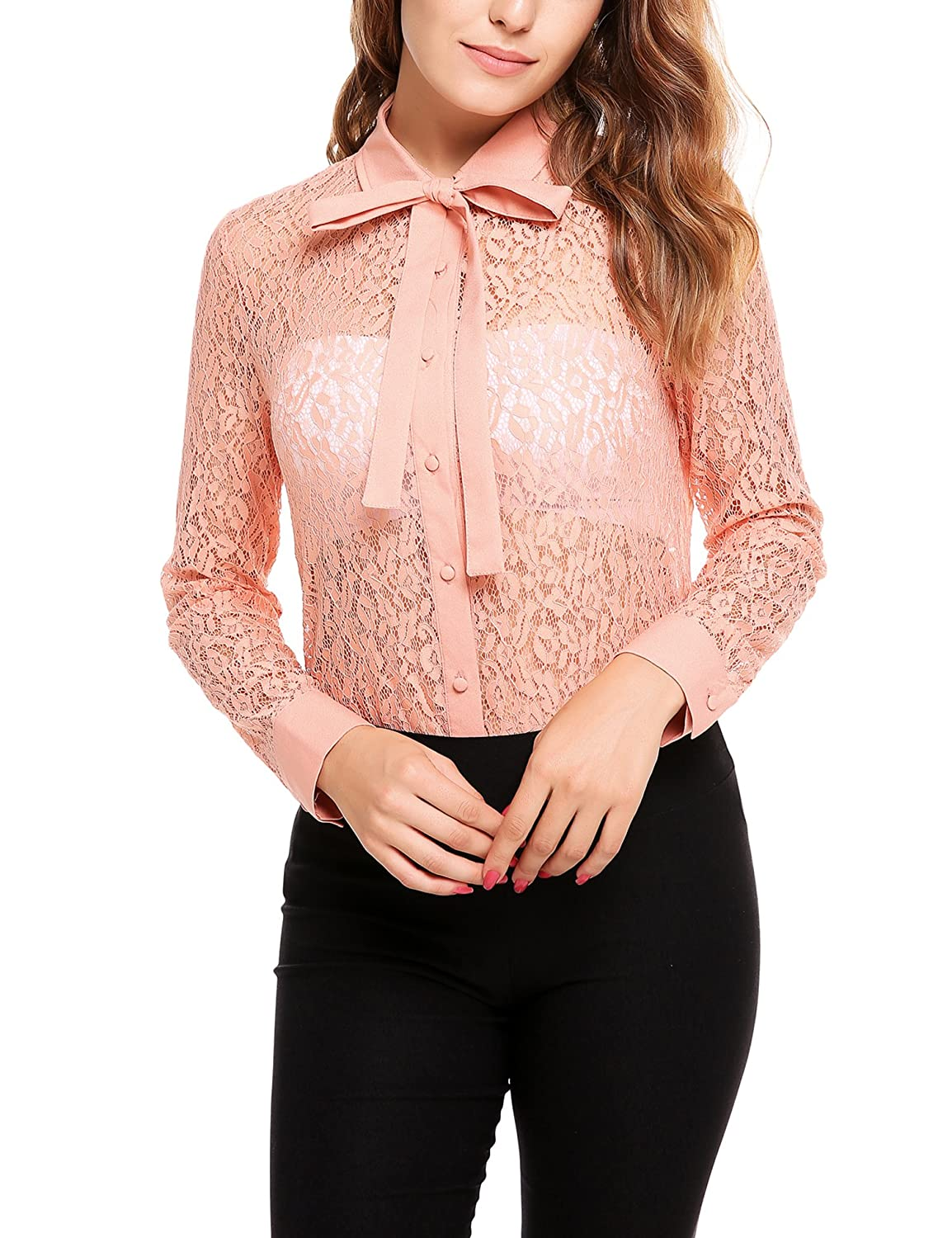 7a076f5f411a04 Zeagoo Women's Long Sleeve Button Down Lace Shirt Bow Knot Collar Blouse  See Through Tops at Amazon Women's Clothing store: