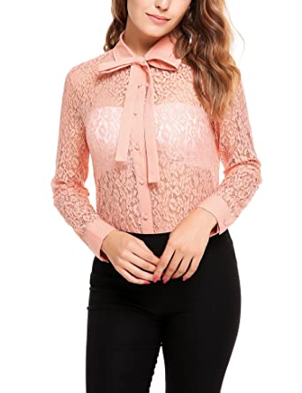 c60c3d31b1367 Zeagoo Women s Long Sleeve Button Down Lace Shirt Bow Knot Collar Blouse  See Through Tops at Amazon Women s Clothing store