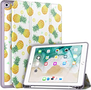 Soke iPad 9.7 2018/2017 Case with Pencil Holder, Trifold Stand with Shockproof Soft TPU Back Cover and Auto Sleep/Wake Function for iPad 9.7 inch 5th/6th Generation,Pineapple