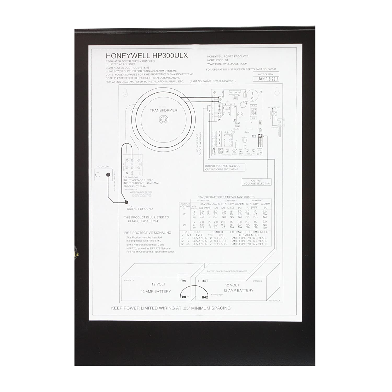 Honeywell Hp300ulx Access Control Power Supply Charger Ct Cabinet Wiring Diagram 12 24 Vdc 25 Amp Camera Photo