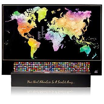Wanderlust mapa del mundo rascador Mapa del mundo mapa de arañazos para el mundo libre de