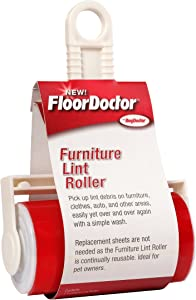 Floor Doctor Furniture Lint Roller, Large Sticky Roller Removes Pet Hair and Lint from Furniture and Upholstery, Washable and Reusable Roller