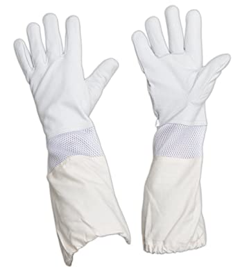 Forest Beekeeping Gloves, Premium Goatskin Leather Beekeeper's Glove with White Vented Space Between Long Canvas Sleeve and Elastic Cuff (XS)