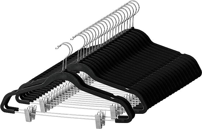 New Non-slip Flocked Velvet Space Saving Coat Hangers Trouser Clothes Shirts Bar