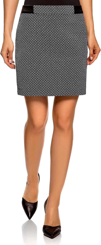 oodji Ultra Mujer Falda Corta de Jacquard, Negro, ES 44 / XL ...