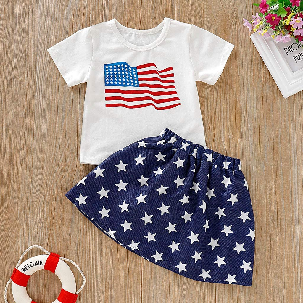 Katherina Toddler Kids Baby Girl 4th of July Independance Day Outfit Clothes Stars and Stripe Patriotic Shirt Skirt Set