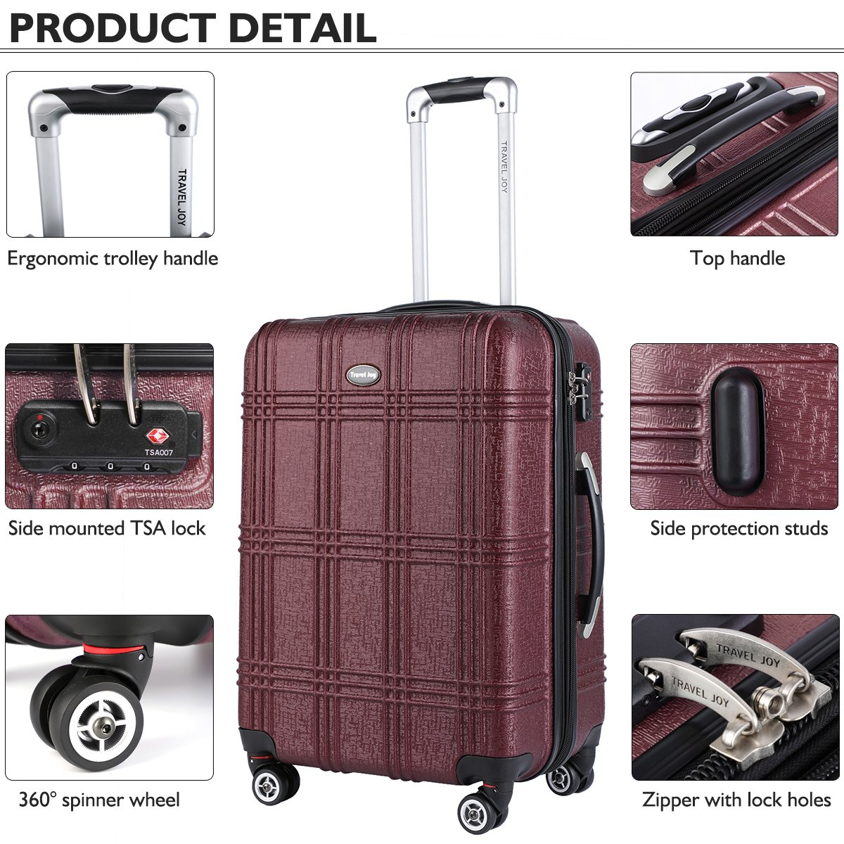 Expandable Carry On Luggage Lightweight Spinner Carry Ons TSA Hardside Luggage Suitcase, 20 inches (BURGUNDY) by Travel Joy (Image #4)