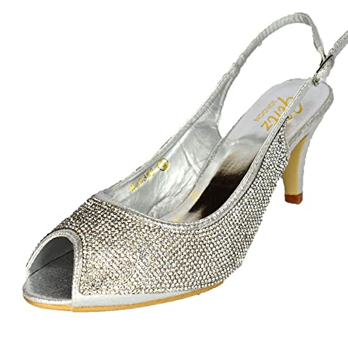 30db92532d9 Glitz LONDON Ladies Diamante Sparkly Mid Heel Silver Slingback Party Heel  Court Shoe UK Size