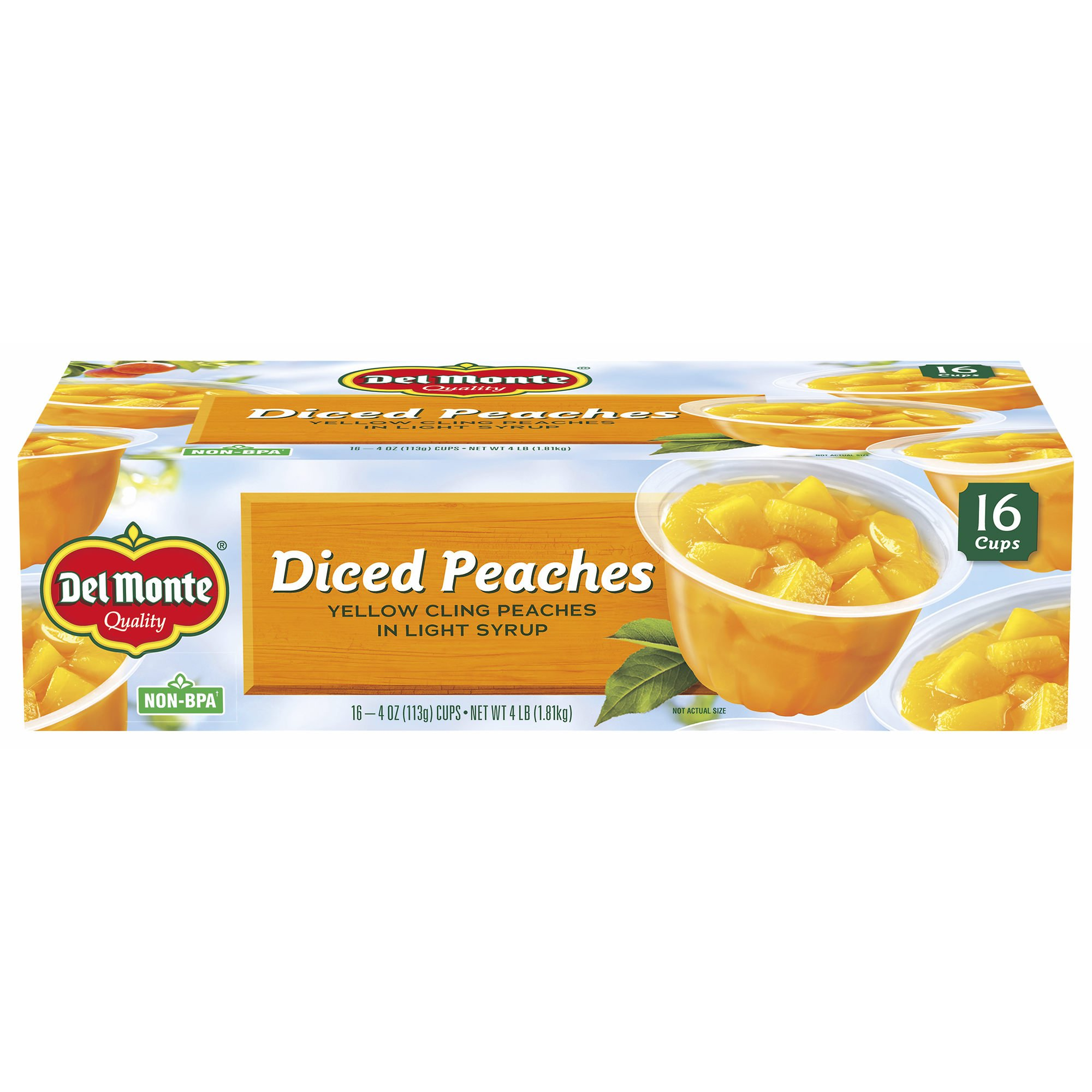 Del Monte Diced Peaches in Light Syrup, 16 pk./4 oz. (pack of 6) by Del Monte