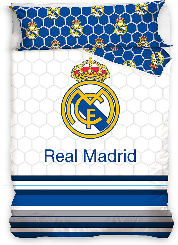 Real Madrid Juego de Cama 2 Pieza. Funda Nórdica + Funda de Almohada. Producto Oficial (150x220cm + 45x110cm) RM182058: Amazon.es: Hogar