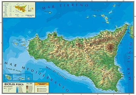 Cartina Mappa Sicilia.Carta Geografica Murale Sicilia 100x140 Bifacciale Fisica E Politica Amazon It Cancelleria E Prodotti Per Ufficio