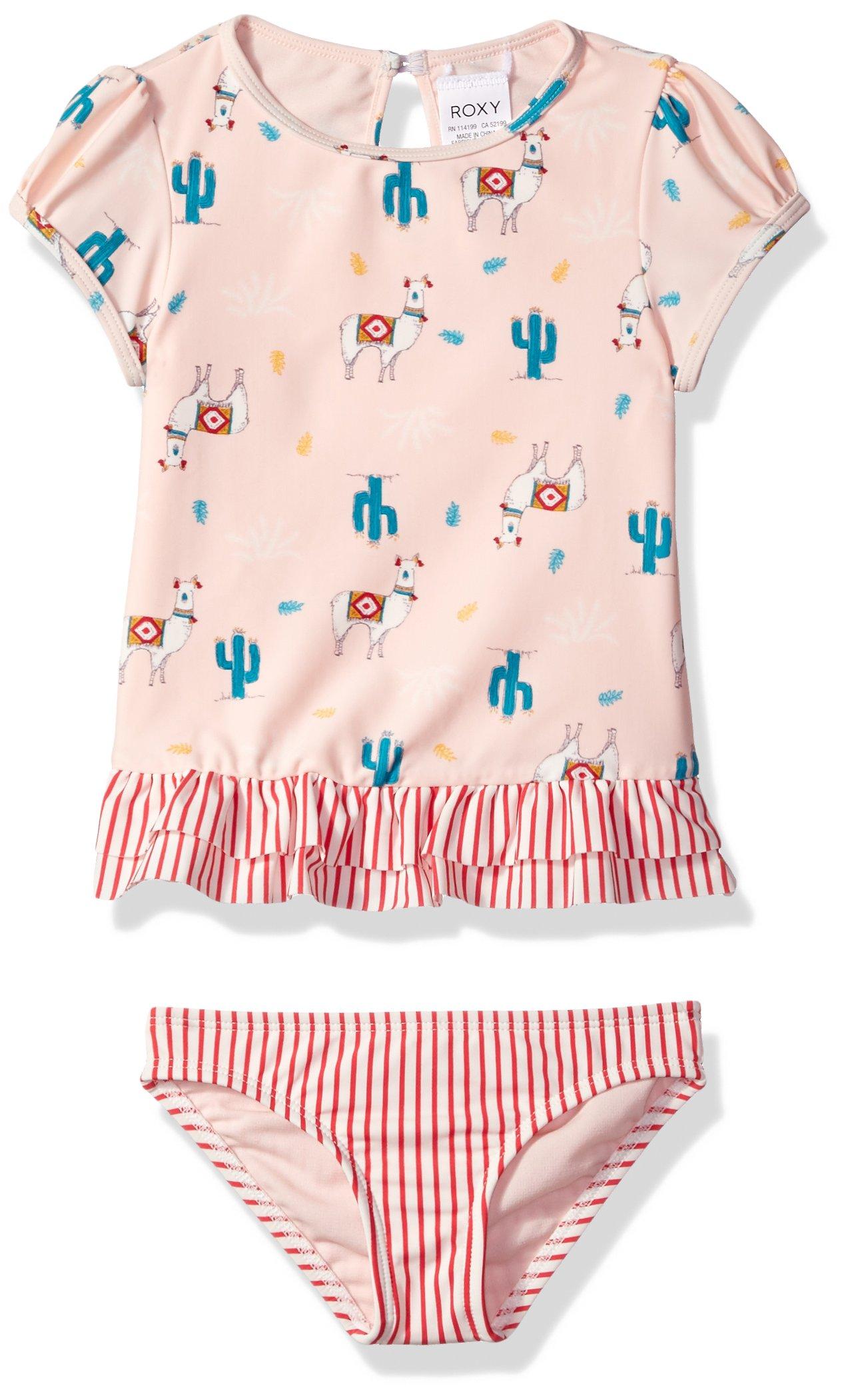 Roxy Little Girls' Cute Travel Fashion Short Sleeve Rashguard Set, Rose Quartz Swim Peru Travel, 5 by Roxy
