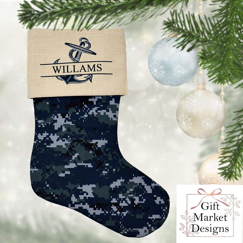 Holiday Decor Navy Christmas Stocking Personalized US Military Camo Cotton Fabric
