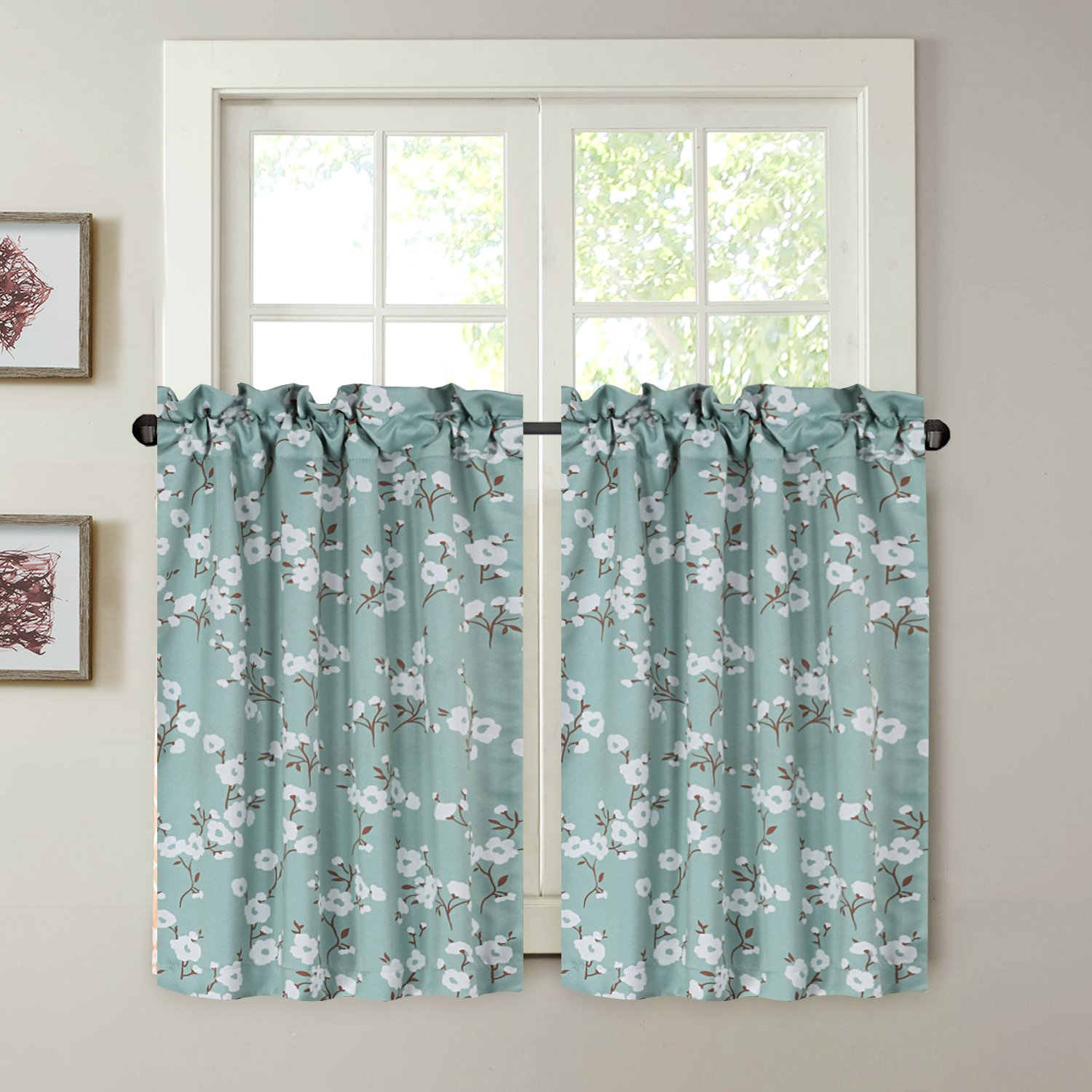 H.VERSAILTEX Kitchen Half Window Decorative Thermal Insulated Blackout  Curtain Rod Pocket Tier Curtains - Aqua Floral Pattern - (58\