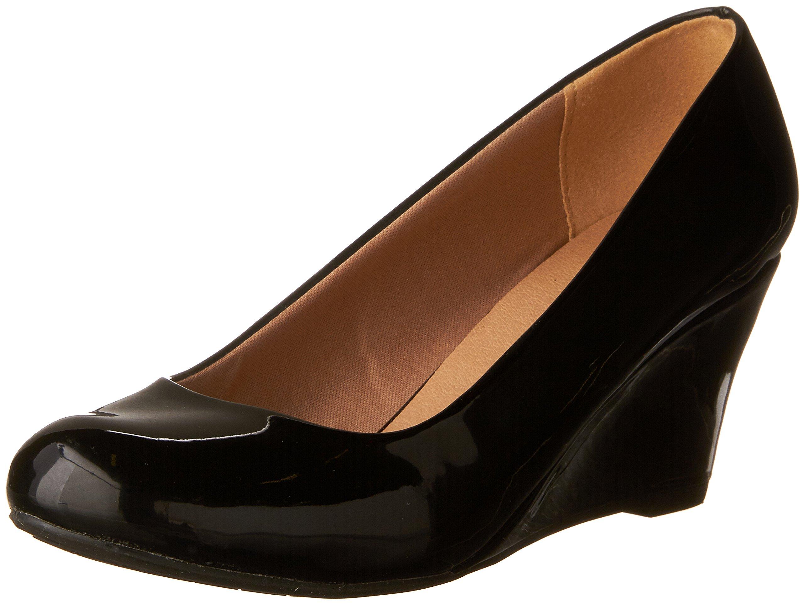 Forever Link Women's DORIS-22 Patent Round Toe Wedge Pumps Black 7