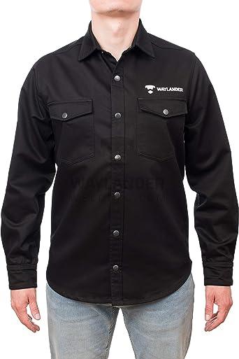 Waylander Welding FR camisa de manga larga para hombres; camisa de soldadura TIG resistente de algodón ignífugo de 9 oz con botones a presión