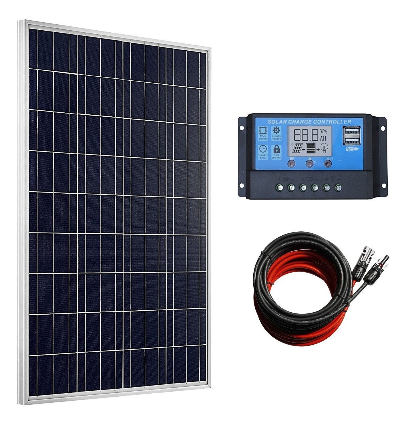 100 Watts Solar Panel + 20A LCD Display PWM Charge Controller + 30 Feet Solar Cable Adaptor for Off-Grid RV Boat Kit