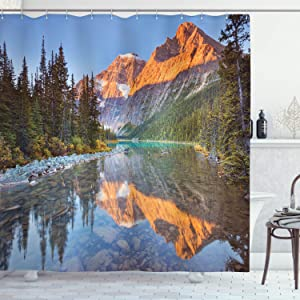 "Ambesonne National Parks Shower Curtain, Canadian Rocky Mountain Range on Edith Cavell Lake Pastoral Image Print, Cloth Fabric Bathroom Decor Set with Hooks, 70"" Long, Blue Orange"