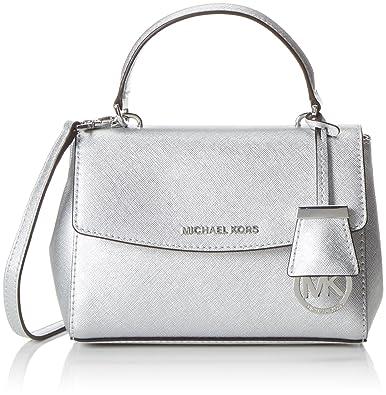 3fea88f3baf Michael Kors Ava Silver Metallic Saffiano Leather XS Satchel ...