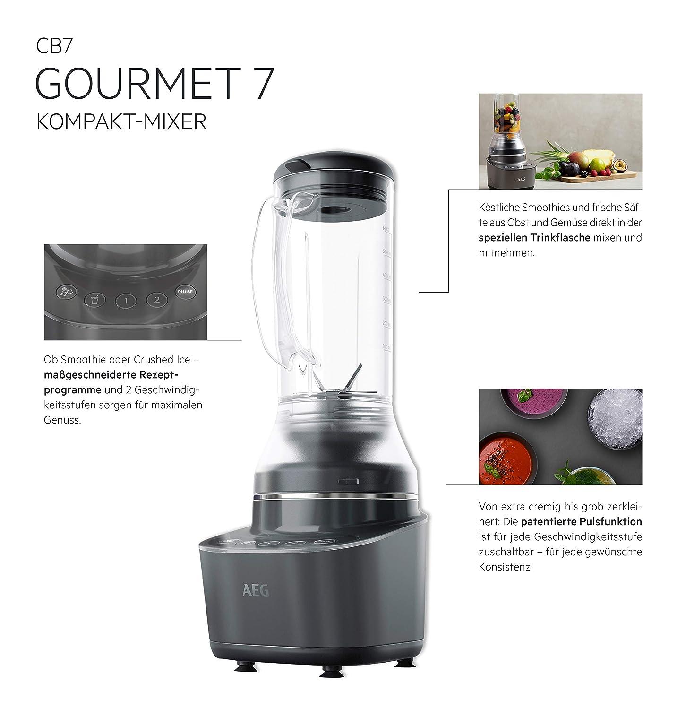 6-Klingen Edelstahlmesser f/ür schnelle Mixresultate AEG Gourmet 7 Kompaktmixer CB7-1-8MTM in Schwarz Sp/ülmaschinenfester Mixer mit patentierter Pulsfunktion