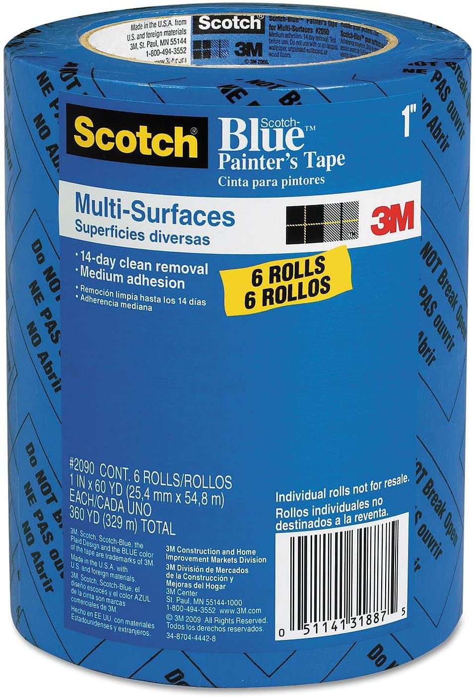 3M 1 Blue 2090-24EVP.94 in. x 60 yd. Scotch Painters Tape Value Pack-6 Pack, 6-Pack