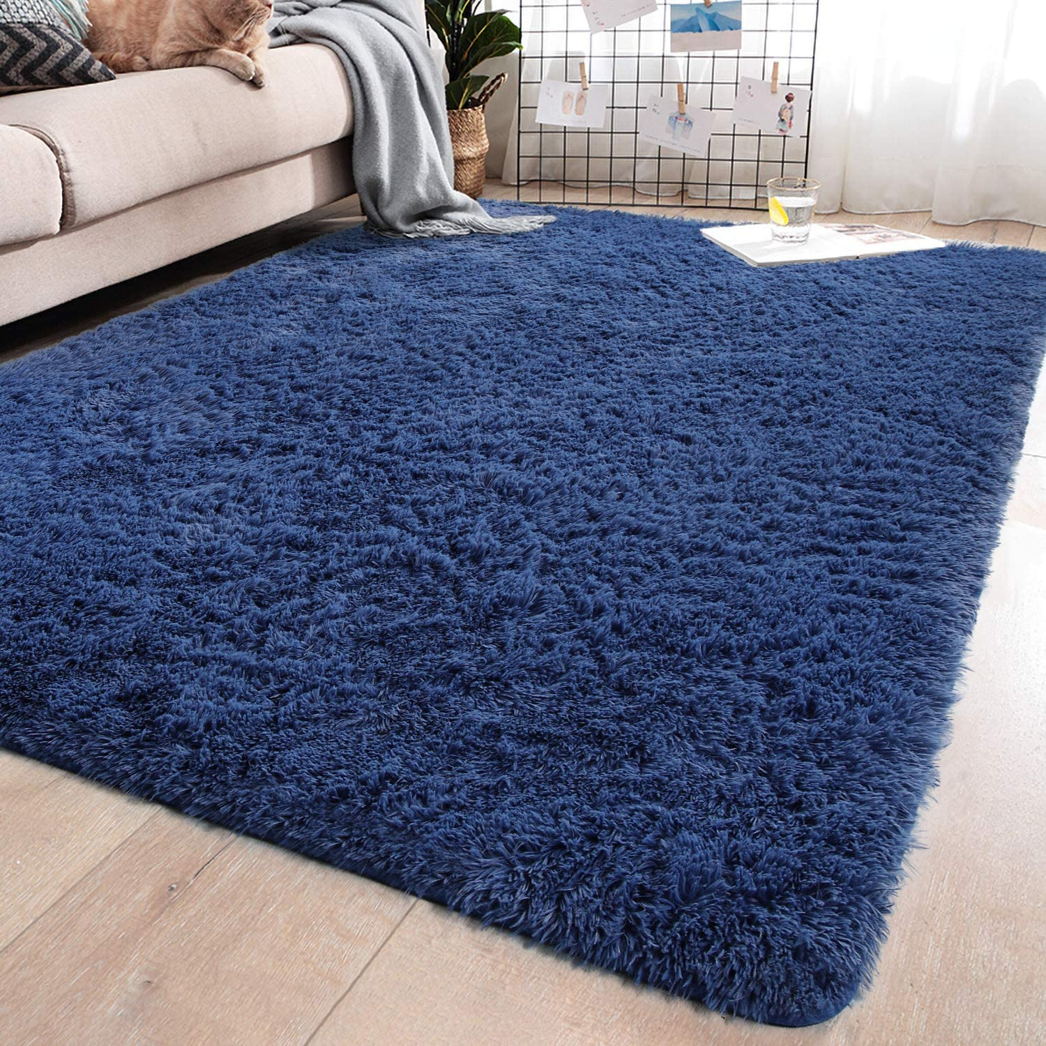 YJ.GWL Soft Shaggy Area Rugs for Bedroom Fluffy Living Room Rugs Anti-Skid Nursery Girls Carpets Kids Home Decor Rugs 4 x 5.3 Feet Indigo