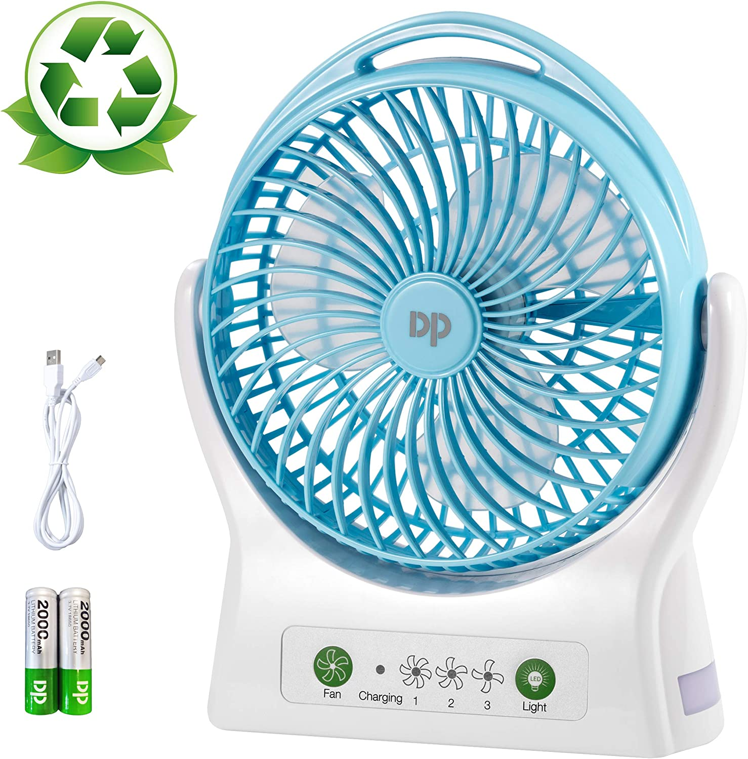 DP USB Personal Battery Operated Desk Fan, 4000mAh Rechargeable Battery (Included), 3 Speeds, 330 Degree Rotation, Ultra Quiet Cooling Table Fan with Night Light for Home and Office