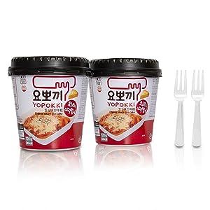 Cheese Tteokbokki Korean Rice Cake Instant (Cup of 2, Cheese Sauce) Korean Snack Tteok Tteokbokki Rice Cake 떡볶이