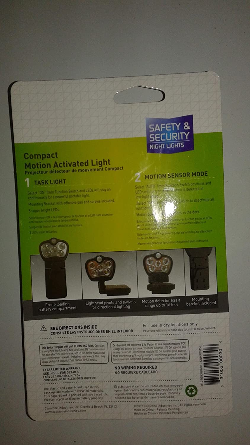 Amazon.com : 5 Light Compact Motion Activated Light (Black) Batteries Not Included : Camera & Photo
