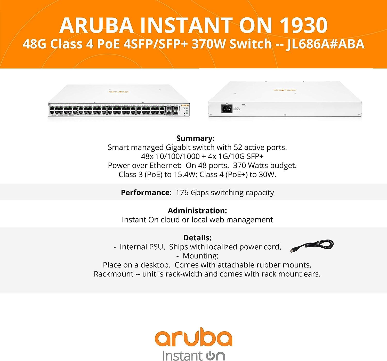 Hpe Aruba Ion 1930 48g 4sfp 370w Swch Black Computers Accessories
