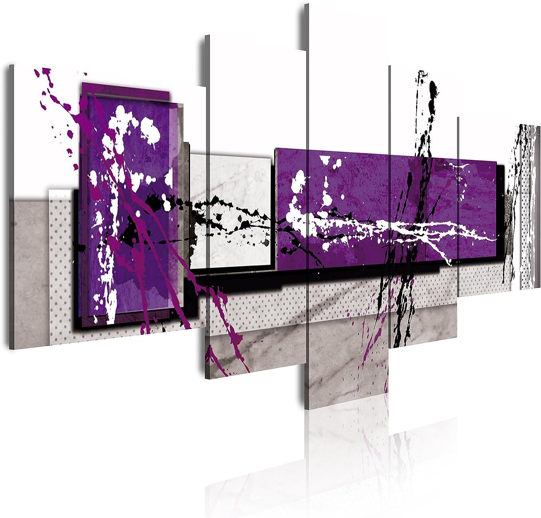 DekoArte - Cuadros Modernos Impresión de Imagen Artística Digitalizada | Lienzo Decorativo Para Tu Salón o Dormitorio | Estilo Abstracto Moderno Colores Gris Morado Blanco | 5 Piezas 180 x 85 cm XXL