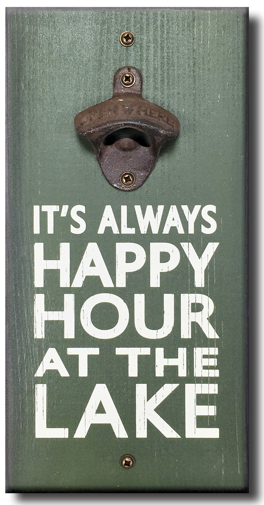 Always Happy Hour at the Lake - Wooden Wall Mounted Bottle Opener by My Word!