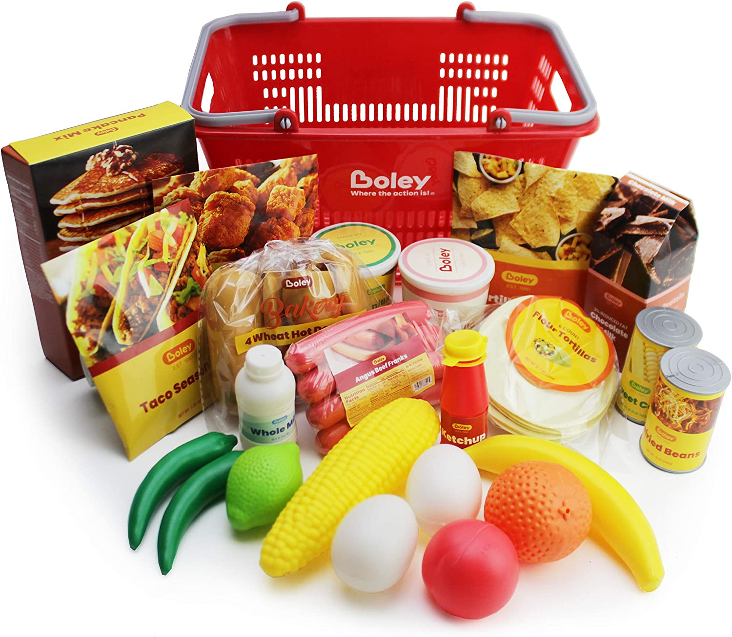 Boley Mart Groceries Play Food Set - 24 Piece Pretend Plastic Play Food Toy Playset with Realistic Grocery Toys and Shopping Basket for Kids Kitchen Accessories