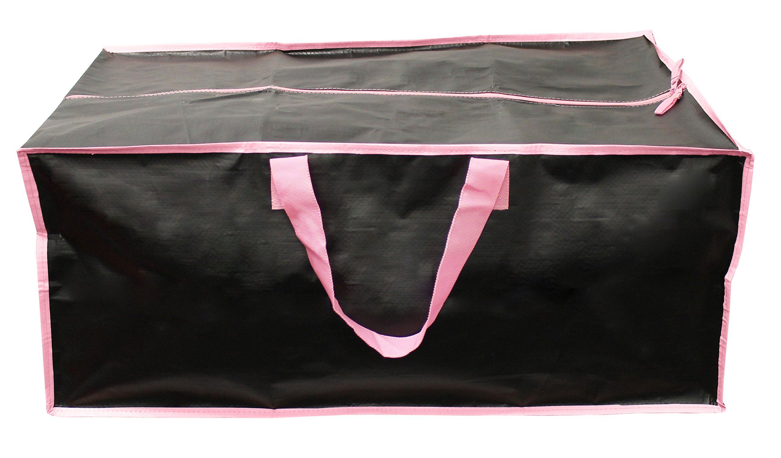 Earthwise Extra Large Reusable Storage Bags Totes Container Backpack Handles w/Zipper closure in Matte Black with Pink Trim Great for MOVING, Compatible with IKEA Frakta Carts (SET OF 4) by Earthwise (Image #3)