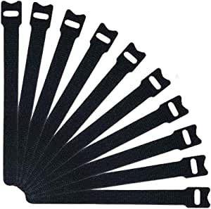 Home-Mart 25pcs Cable Ties Reusable Straps Adjustable Releasable Tidy Wrap Hook and Loop Long Large Strong Black for PC Computer Electronics, 20cmx12mm, Black