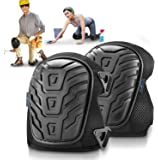 Hakol Gel Knee Pads for Work, Construction ,Flooring, Plumbers ,Tiles (Improved Design) with Heavy Duty Foam Padding and Cushion, Kneepads Is Fully Adjustable, Double Straps and Easy-Fix Clips (Black)